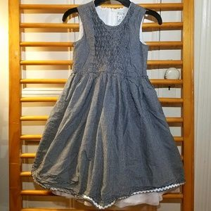 TCP Girls 8 Black White Gingham Smocked Dress Gray